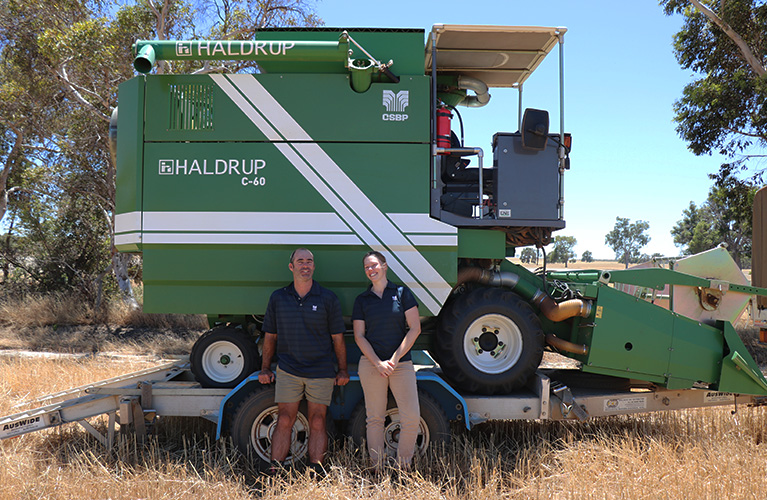Nichola and Ryan with trials harvester
